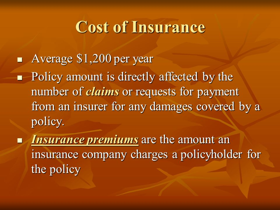 Cost of Insurance Average $1,200 per year Average $1,200 per year Policy amount is directly affected by the number of claims or requests for payment from an insurer for any damages covered by a policy.