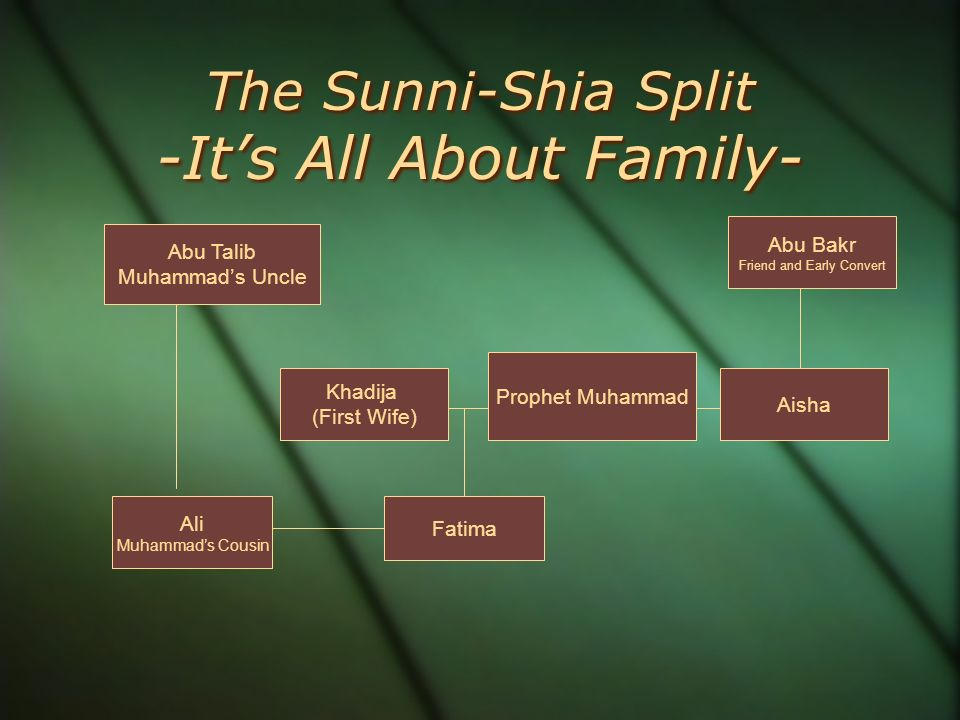 sunni and shia sources Sunni, arabic sunnī, member of one of the two major branches of islam, the branch that consists of the majority of that religion's adherents sunni muslims regard their denomination as the mainstream and traditionalist branch of islam, as distinguished from the minority denomination, the shīʿites.