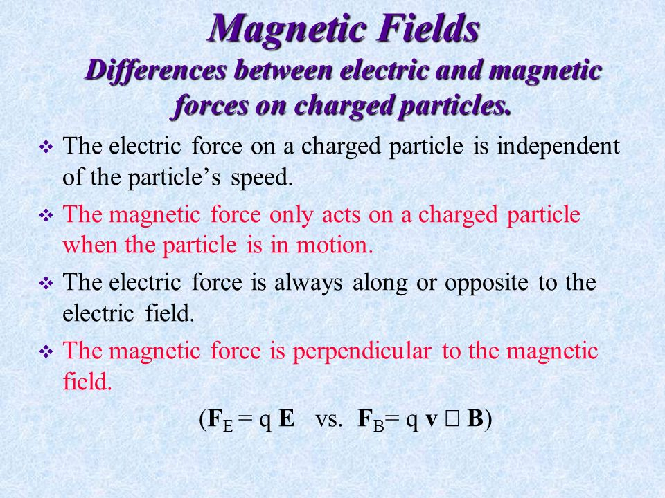 Example Problem  A proton moving at 4.0 x10 6 m/s through a magnetic field of 1.7 T experiences a magnetic force of magnitude 8.2x N.