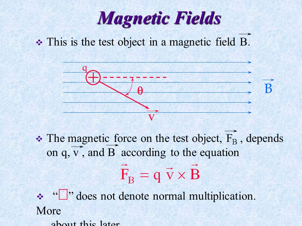 Magnetic Fields  The magnetic field vector B (or magnetic induction or magnetic flux density ) is now defined at some point in space in terms of the magnetic force acting on an appropriate test object .