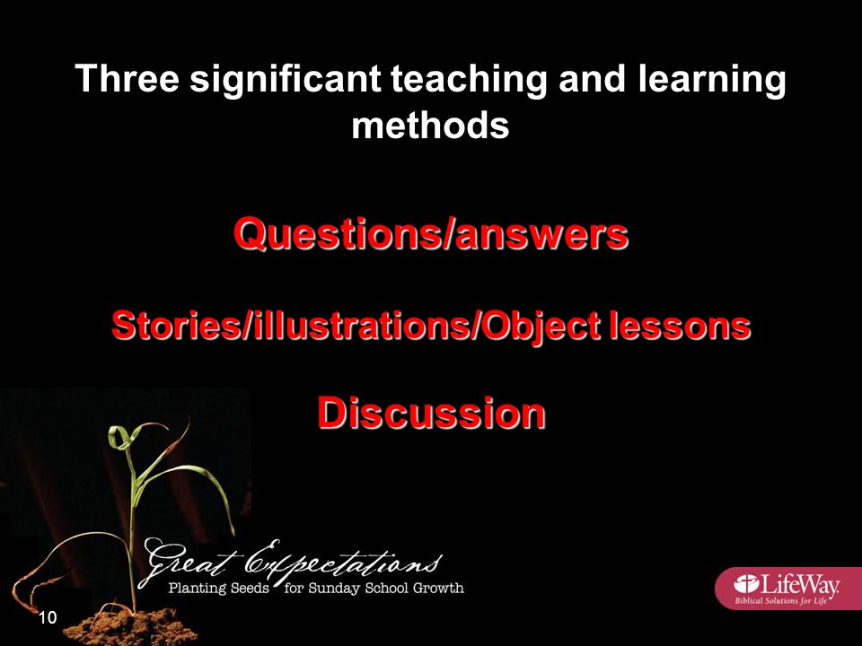 Three significant teaching and learning methods Questions/answers Stories/illustrations/Object lessons Discussion 10