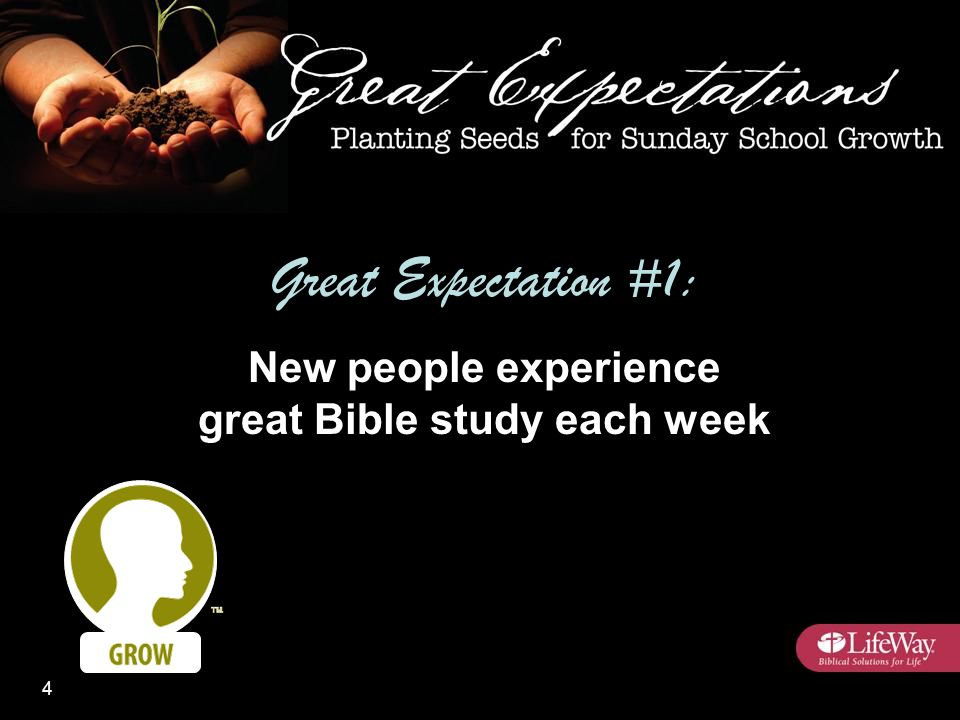 Great Expectation #1: New people experience great Bible study each week 4