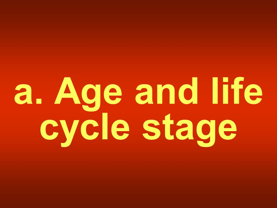 a. Age and life cycle stage