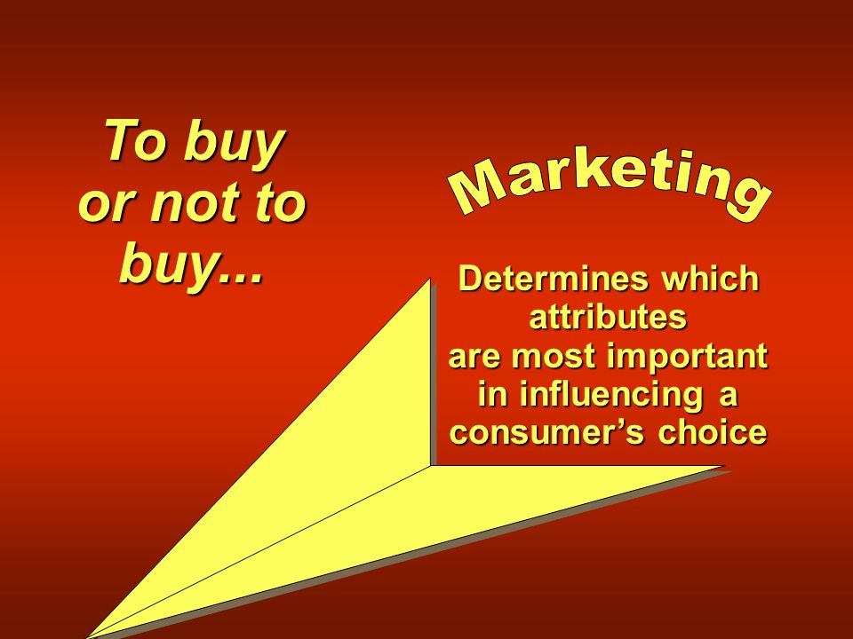 Determines which attributes are most important in influencing a consumer's choice To buy or not to buy...