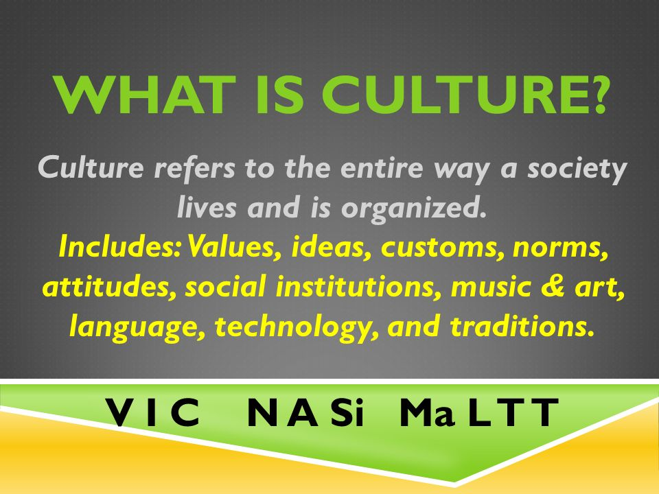 WHAT IS CULTURE. Culture refers to the entire way a society lives and is organized.