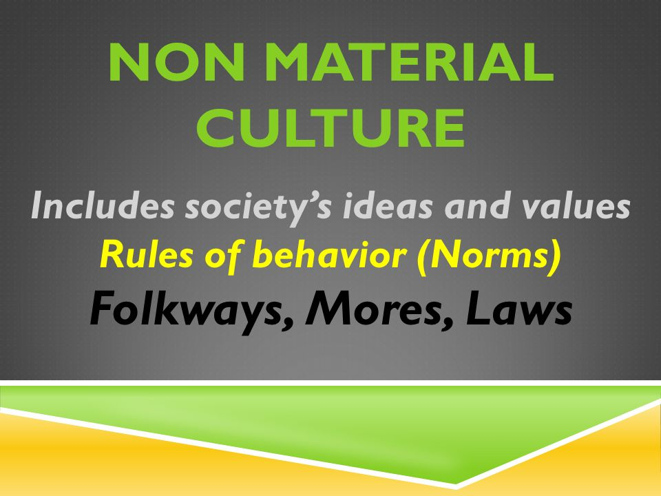 NON MATERIAL CULTURE Includes society's ideas and values Rules of behavior (Norms) Folkways, Mores, Laws