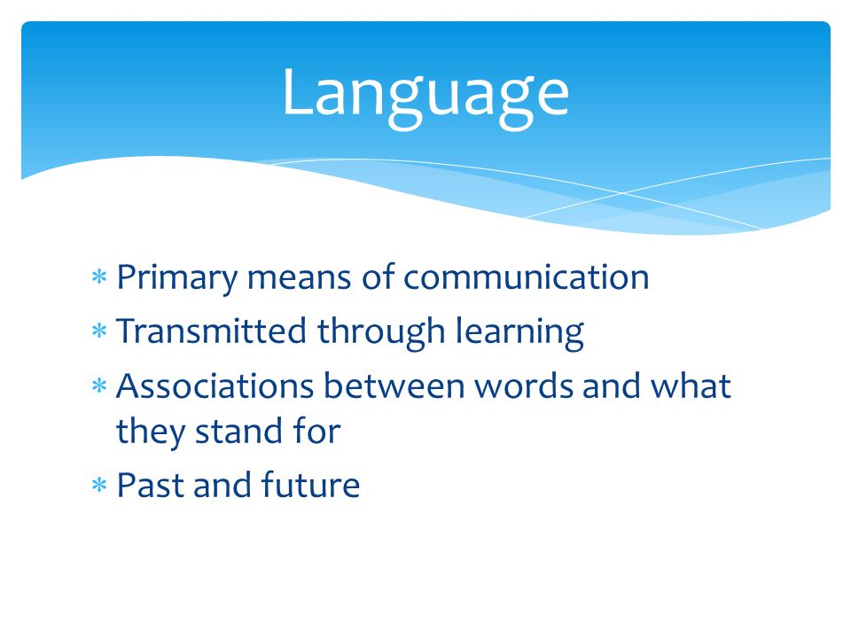  Primary means of communication  Transmitted through learning  Associations between words and what they stand for  Past and future Language