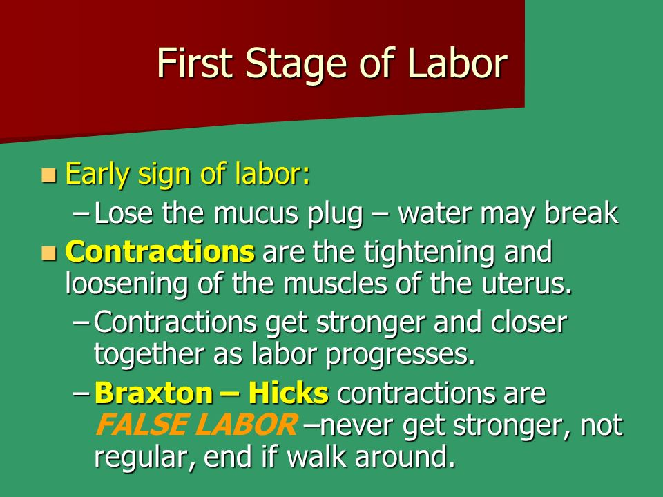 First Stage of Labor Early sign of labor: Early sign of labor: –Lose the mucus plug – water may break Contractions are the tightening and loosening of the muscles of the uterus.