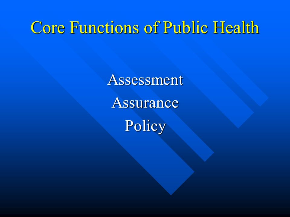 Core Functions of Public Health AssessmentAssurancePolicy
