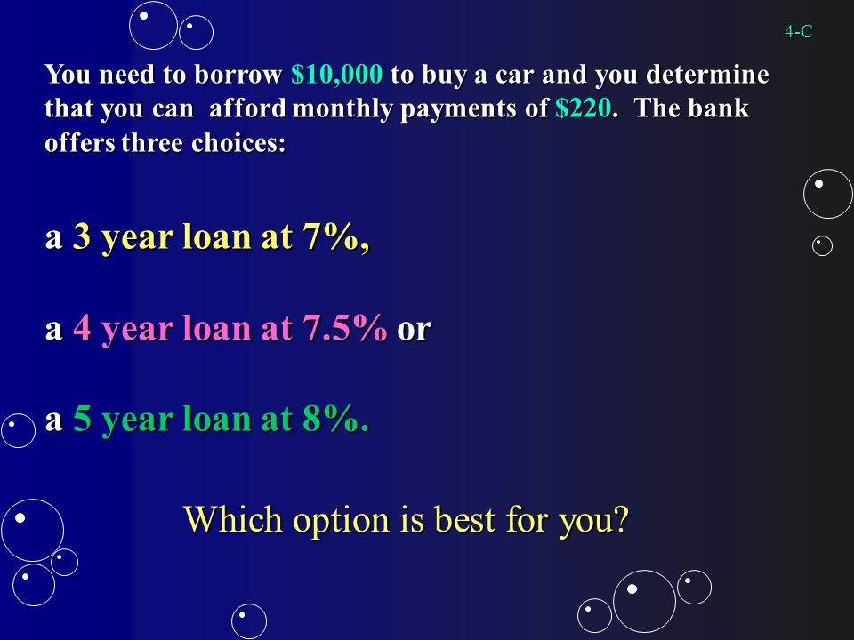 You need to borrow $10,000 to buy a car and you determine that you can afford monthly payments of $220.