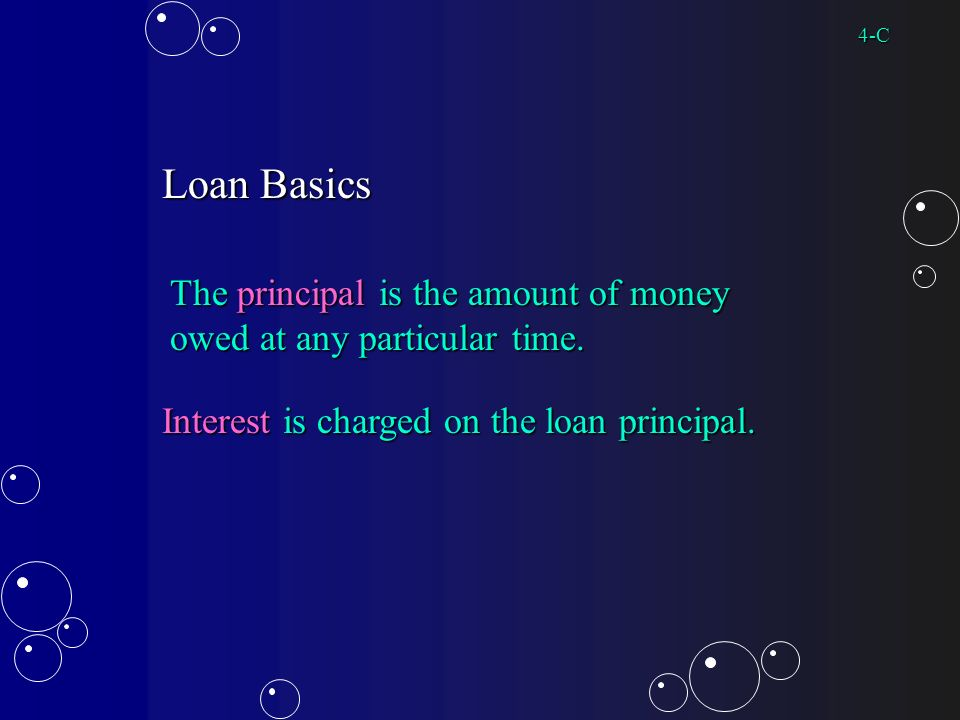 Loan Basics The principal is the amount of money owed at any particular time.