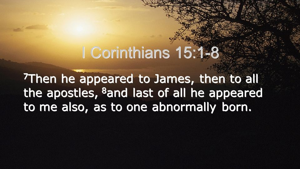 I Corinthians 15:1-8 7 Then he appeared to James, then to all the apostles, 8 and last of all he appeared to me also, as to one abnormally born.