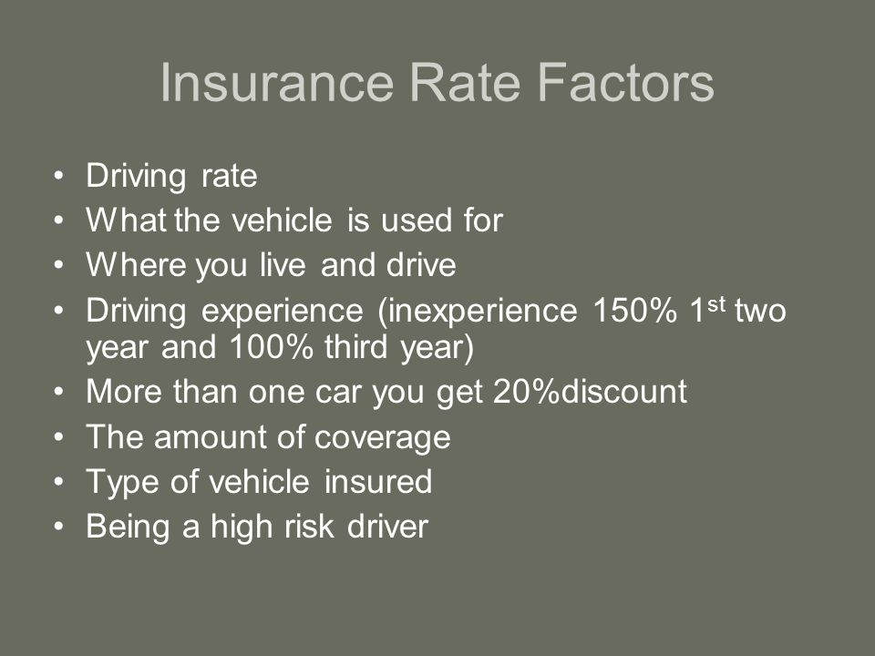 Insurance Rate Factors Driving rate What the vehicle is used for Where you live and drive Driving experience (inexperience 150% 1 st two year and 100% third year) More than one car you get 20%discount The amount of coverage Type of vehicle insured Being a high risk driver