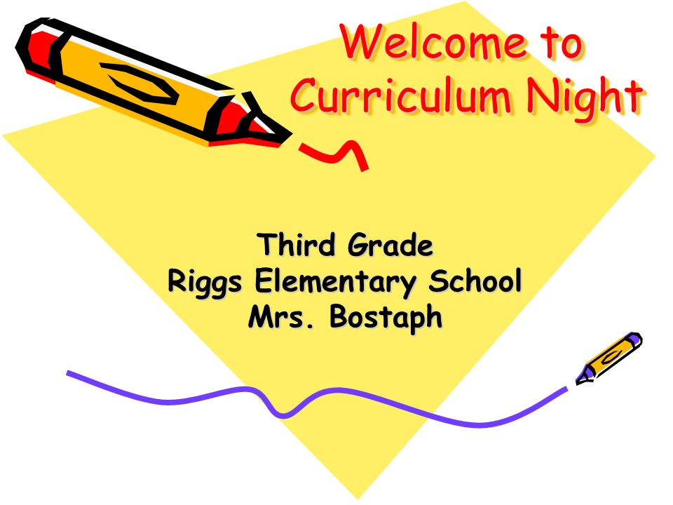 Welcome to Curriculum Night Third Grade Riggs Elementary School Mrs. Bostaph