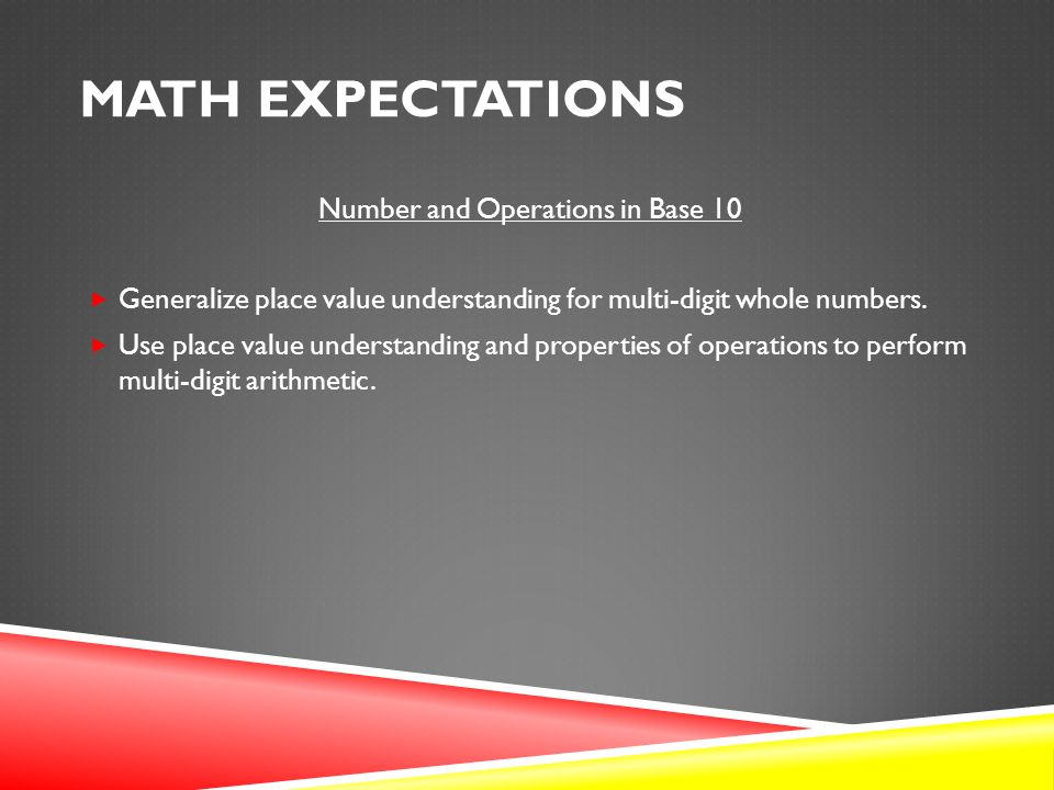 MATH EXPECTATIONS Number and Operations in Base 10  Generalize place value understanding for multi-digit whole numbers.