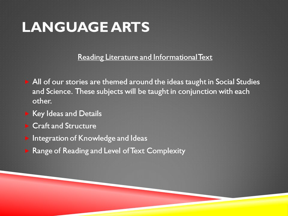 LANGUAGE ARTS Reading Literature and Informational Text  All of our stories are themed around the ideas taught in Social Studies and Science.
