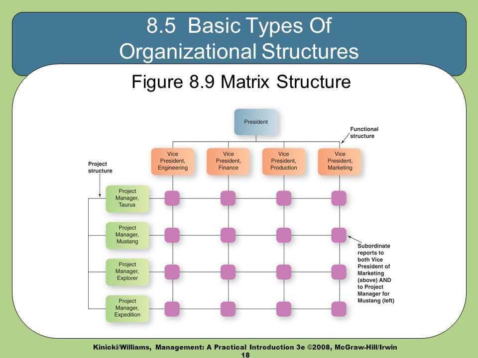 Kinicki/Williams, Management: A Practical Introduction 3e ©2008, McGraw-Hill/Irwin Basic Types Of Organizational Structures Figure 8.9 Matrix Structure