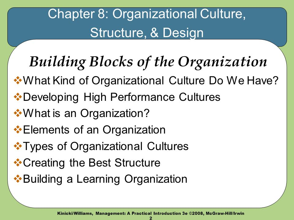 Kinicki/Williams, Management: A Practical Introduction 3e ©2008, McGraw-Hill/Irwin 2 Chapter 8: Organizational Culture, Structure, & Design Building Blocks of the Organization  What Kind of Organizational Culture Do We Have.