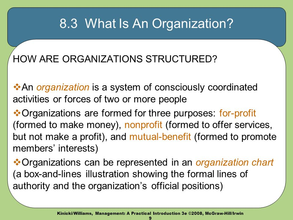 Kinicki/Williams, Management: A Practical Introduction 3e ©2008, McGraw-Hill/Irwin What Is An Organization.