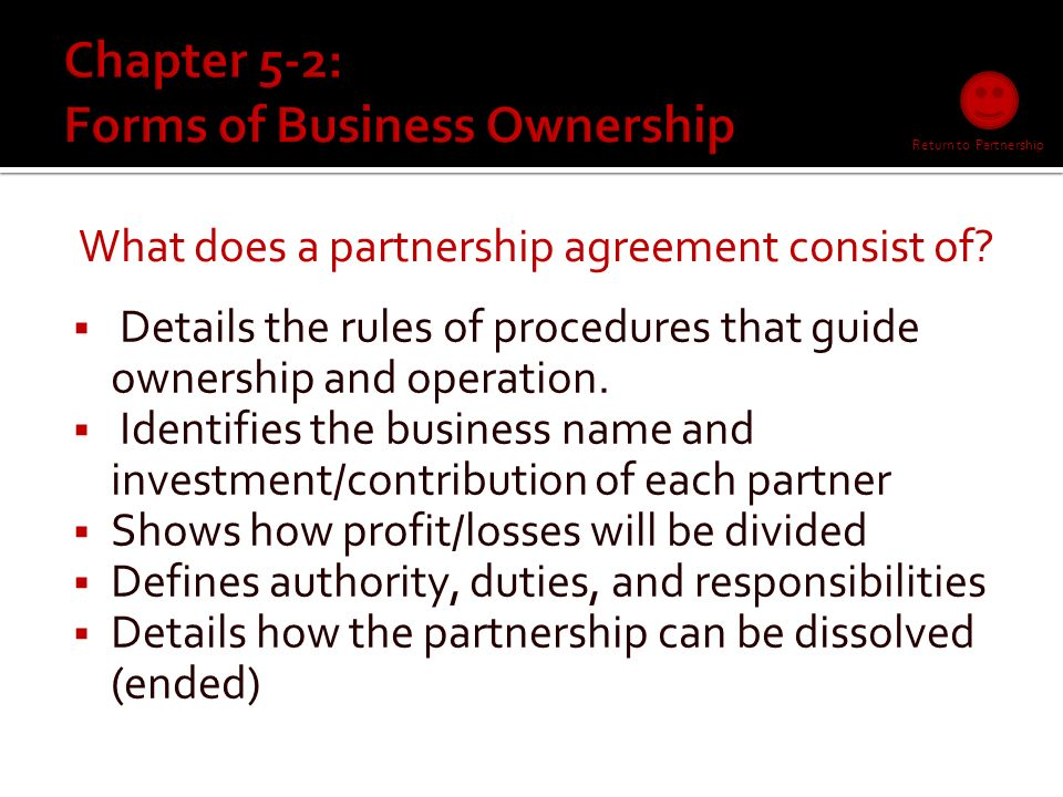  What is that agreement called PARTNERSHIP AGREEMENT Consists of Return to Partnership