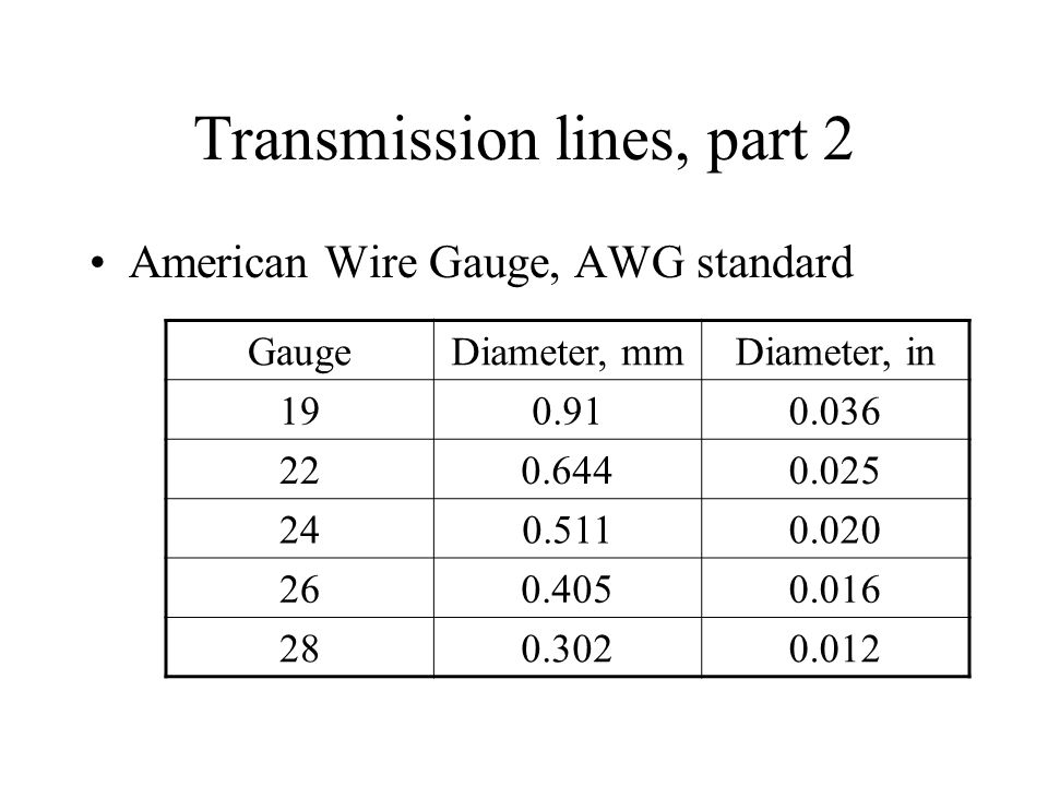 Transmission line wire diameters wire center lecture 2 most basic facts from electricity needed for understanding rh slideplayer com 22 gauge wire diameter wire gauge diameter chart greentooth Image collections