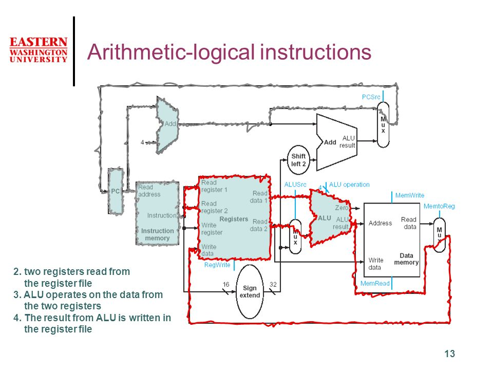 13 Arithmetic-logical instructions 2. two registers read from the register file 3.