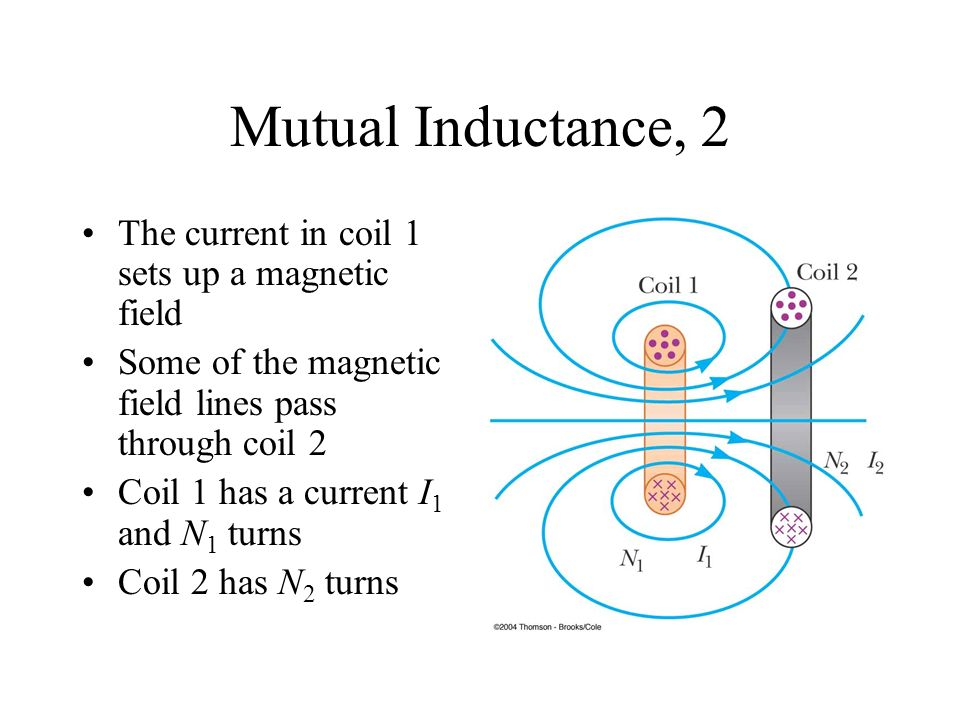 Mutual Inductance, 2 The current in coil 1 sets up a magnetic field Some of the magnetic field lines pass through coil 2 Coil 1 has a current I 1 and N 1 turns Coil 2 has N 2 turns