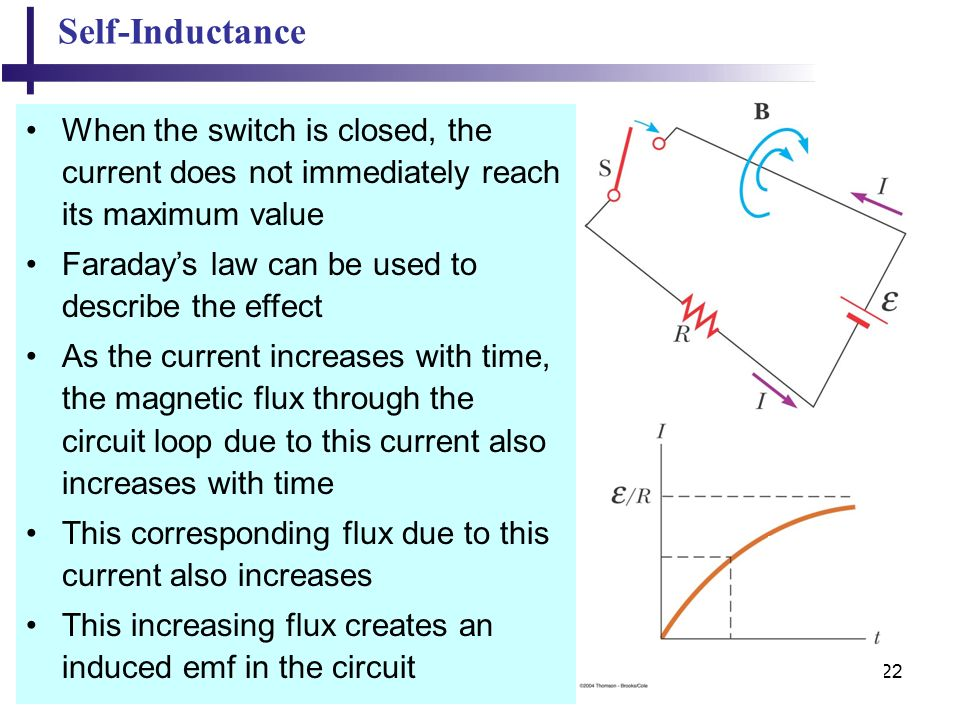22 Self-Inductance When the switch is closed, the current does not immediately reach its maximum value Faraday's law can be used to describe the effect As the current increases with time, the magnetic flux through the circuit loop due to this current also increases with time This corresponding flux due to this current also increases This increasing flux creates an induced emf in the circuit