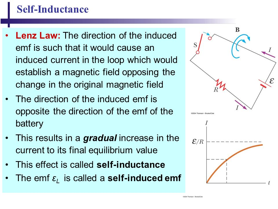 23 Self-Inductance Lenz Law: The direction of the induced emf is such that it would cause an induced current in the loop which would establish a magnetic field opposing the change in the original magnetic field The direction of the induced emf is opposite the direction of the emf of the battery This results in a gradual increase in the current to its final equilibrium value This effect is called self-inductance The emf ε L is called a self-induced emf