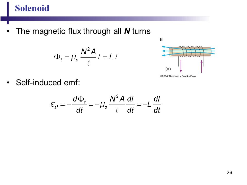 26 Solenoid The magnetic flux through all N turns Self-induced emf: