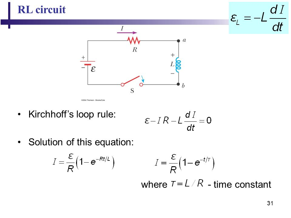 31 RL circuit Kirchhoff's loop rule: Solution of this equation: where - time constant