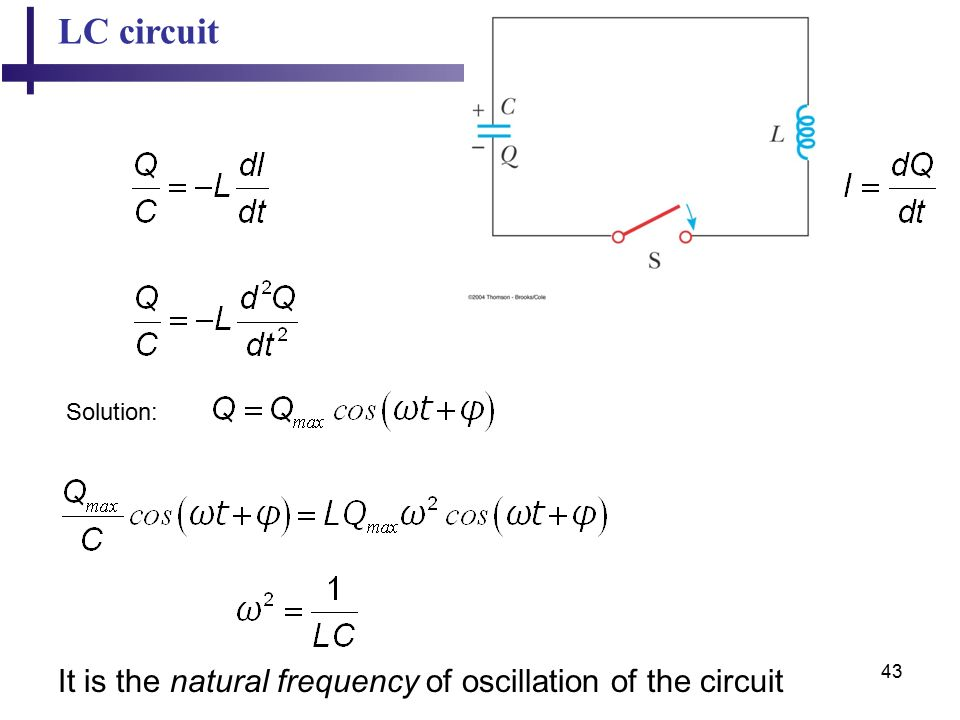 43 LC circuit Solution: It is the natural frequency of oscillation of the circuit