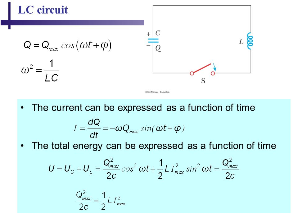 44 LC circuit The current can be expressed as a function of time The total energy can be expressed as a function of time