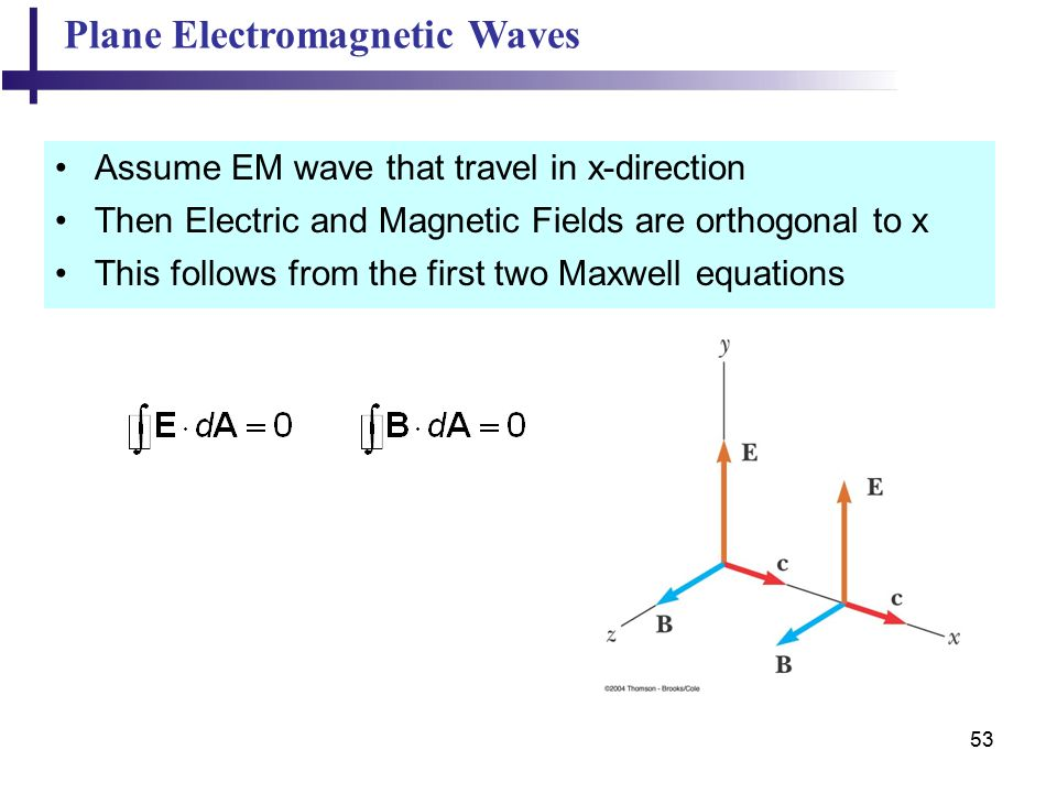 53 Plane Electromagnetic Waves Assume EM wave that travel in x-direction Then Electric and Magnetic Fields are orthogonal to x This follows from the first two Maxwell equations