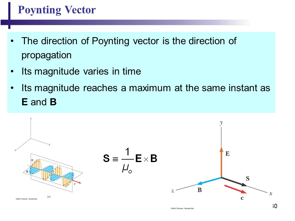 60 Poynting Vector The direction of Poynting vector is the direction of propagation Its magnitude varies in time Its magnitude reaches a maximum at the same instant as E and B