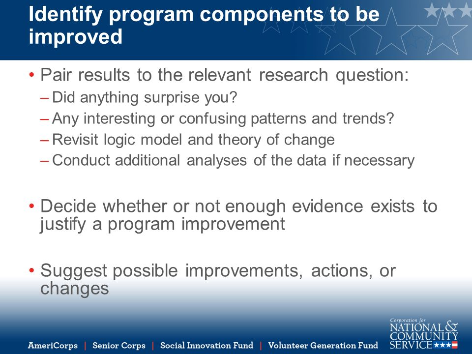 Identify program components to be improved Pair results to the relevant research question: –Did anything surprise you.
