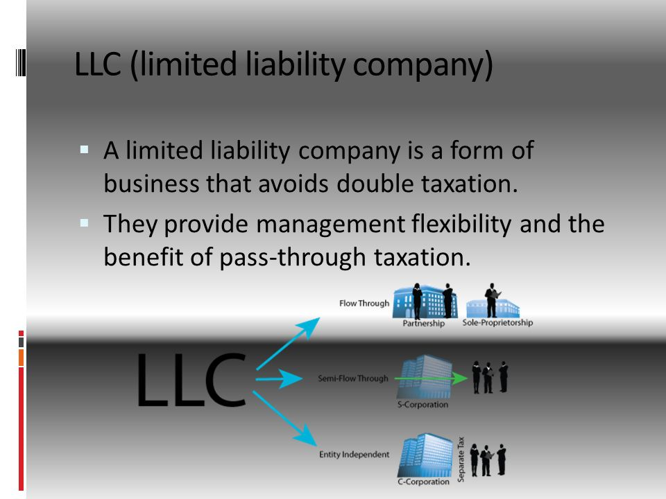 LLC (limited liability company)  A limited liability company is a form of business that avoids double taxation.