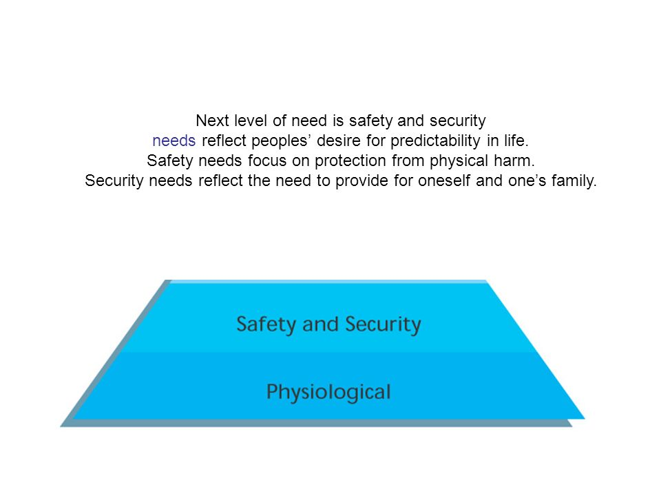 Next level of need is safety and security needs reflect peoples' desire for predictability in life.
