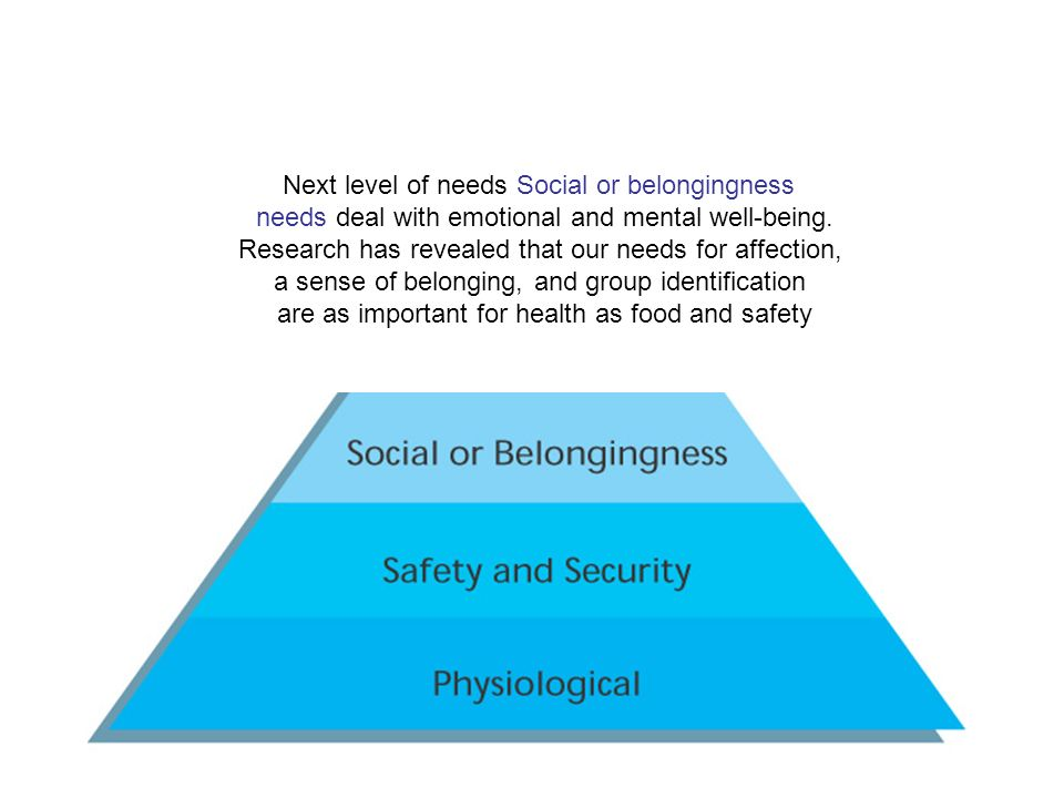 Next level of needs Social or belongingness needs deal with emotional and mental well-being.