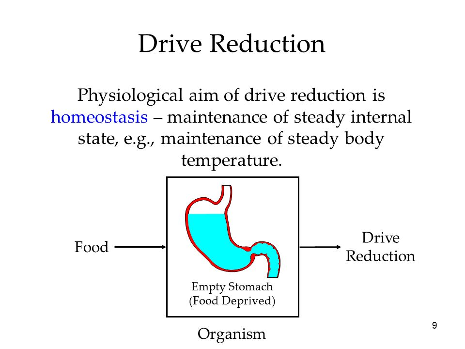 9 Drive Reduction Food Drive Reduction Organism Physiological aim of drive reduction is homeostasis – maintenance of steady internal state, e.g., maintenance of steady body temperature.