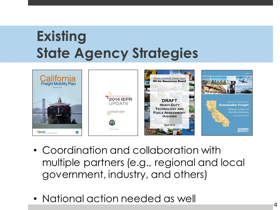 Existing State Agency Strategies 4 Coordination and collaboration with multiple partners (e.g., regional and local government, industry, and others) National action needed as well