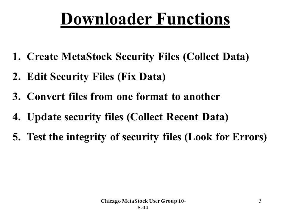 Chicago MetaStock User Group The Downloader ® Downloader
