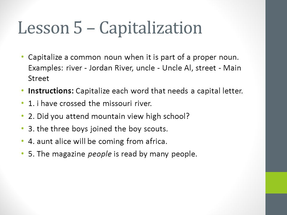 Daily Grammar Mechanics Lesson 1 Capitalization Capitalize The