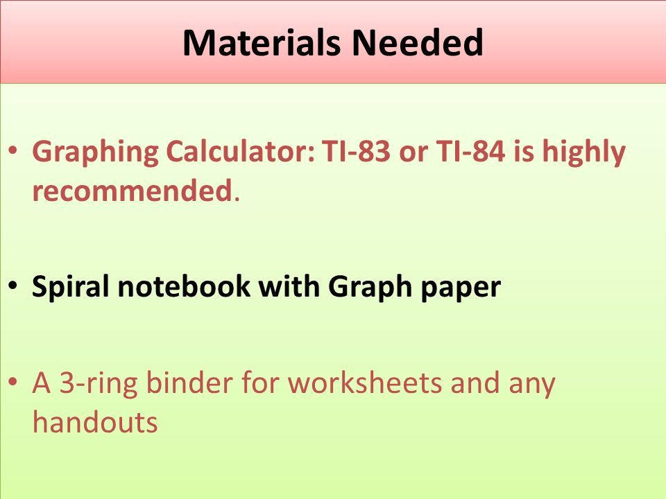 Materials Needed Graphing Calculator: TI-83 or TI-84 is highly recommended.