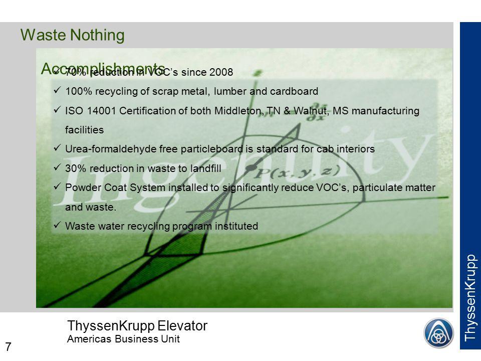 ThyssenKrupp Elevator Americas Business Unit ThyssenKrupp 1