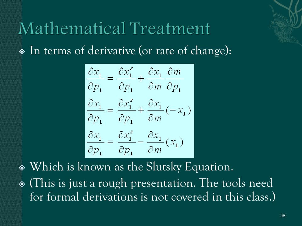  In terms of derivative (or rate of change):  Which is known as the Slutsky Equation.