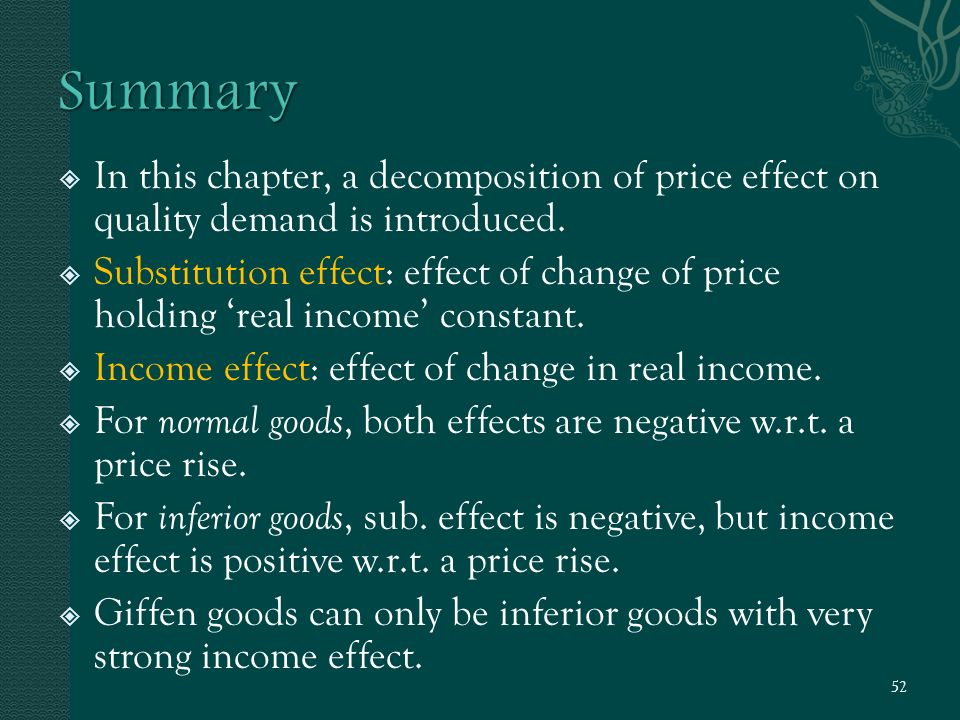  In this chapter, a decomposition of price effect on quality demand is introduced.