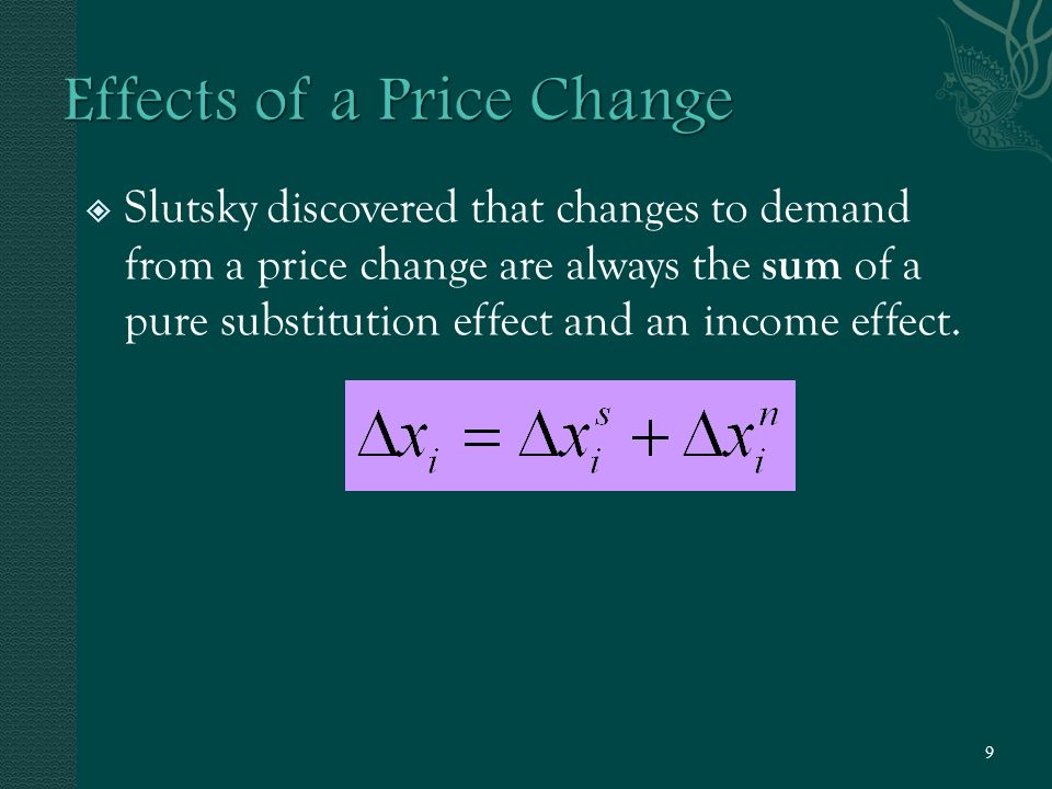  Slutsky discovered that changes to demand from a price change are always the sum of a pure substitution effect and an income effect.