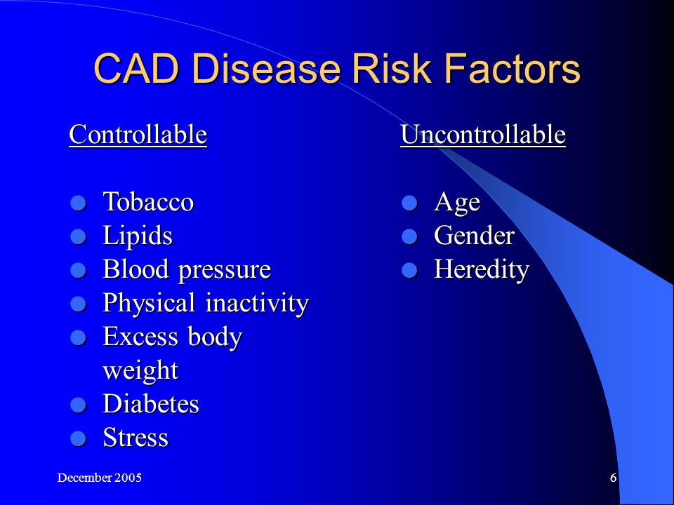 December CAD Disease Risk Factors Controllable  Tobacco  Lipids  Blood pressure  Physical inactivity  Excess body weight  Diabetes  Stress Uncontrollable  Age  Gender  Heredity