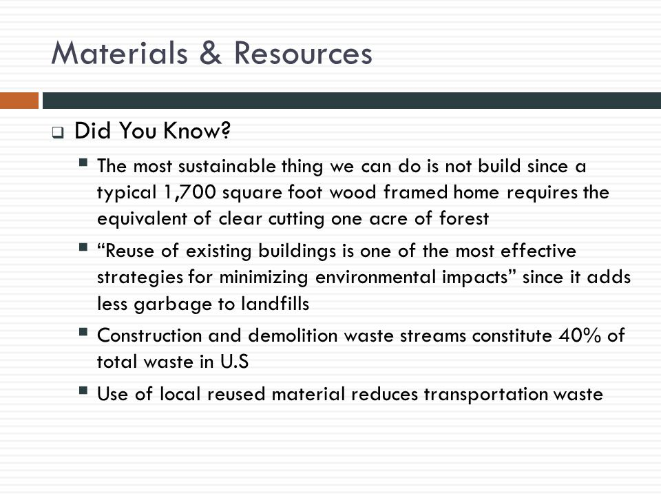 Materials & Resources  Did You Know.